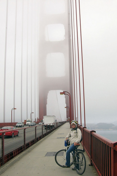 We rented bicicles and rode them across the Golden Gate, over to Sausalito where we caught the ferry back to SF.  It was a foggy cold San Francisco day.