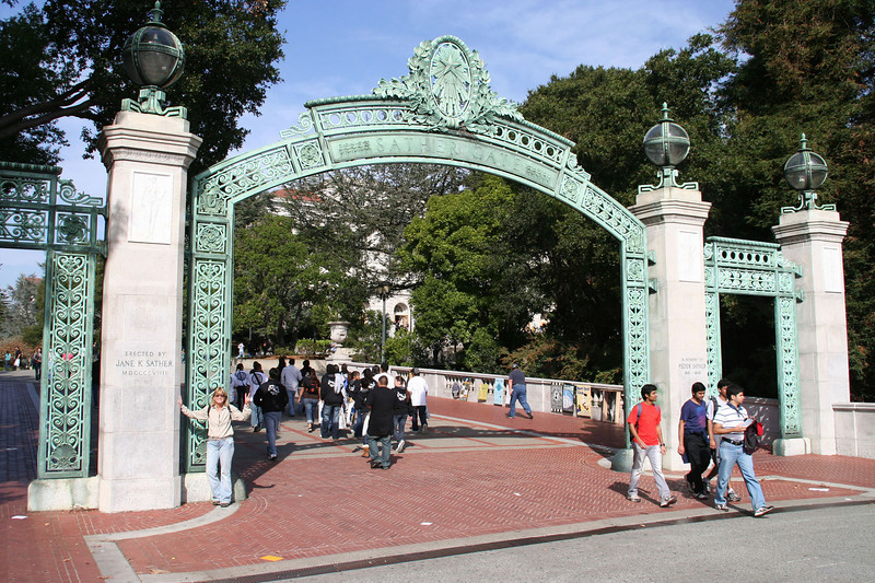 Becky at Sather Gate, UC Berkeley