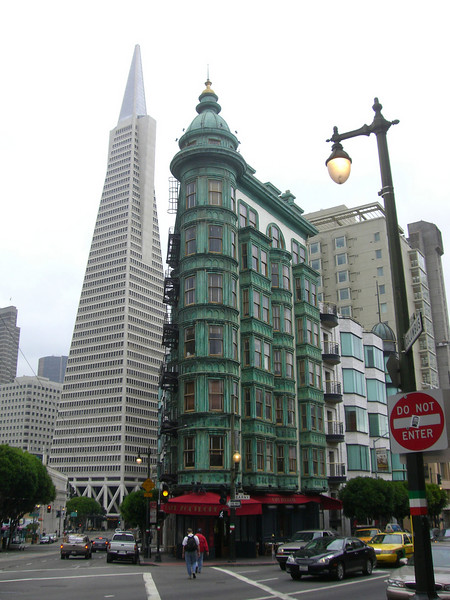 Francis Ford Coppola's Copper Cupola where Godfather I & II were edited.  Transamerica building in background.