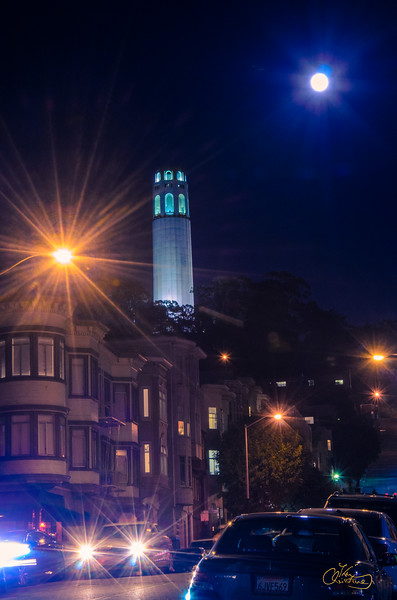 Full  Moon behind Coit Tower