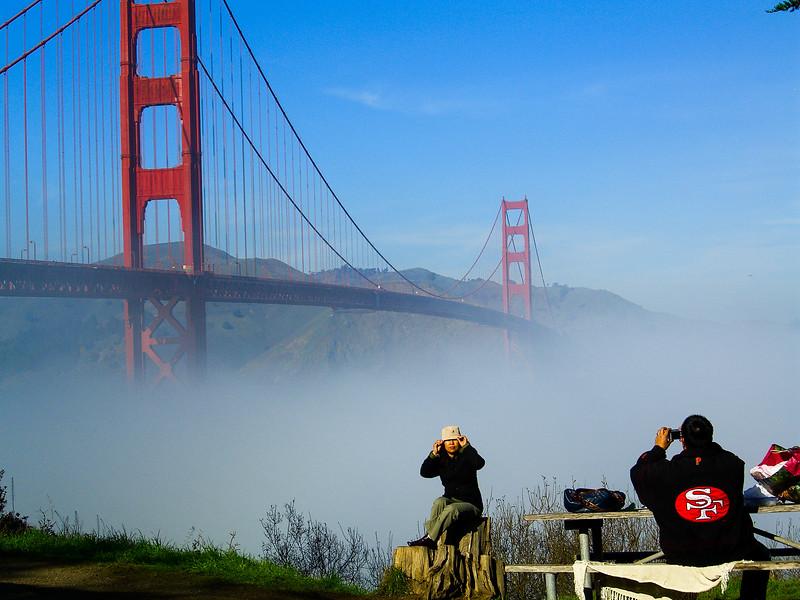 Golden Gate Bridge, Low Fog & 49er Fans