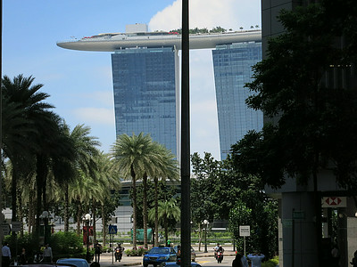 Half of the Marina Bay Sands seen by telephoto from Fullerton Square in central Singapore.