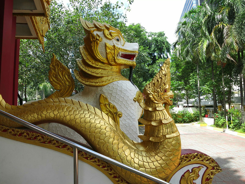 Along the entrance stairway to the Burmese Buddhist Temple