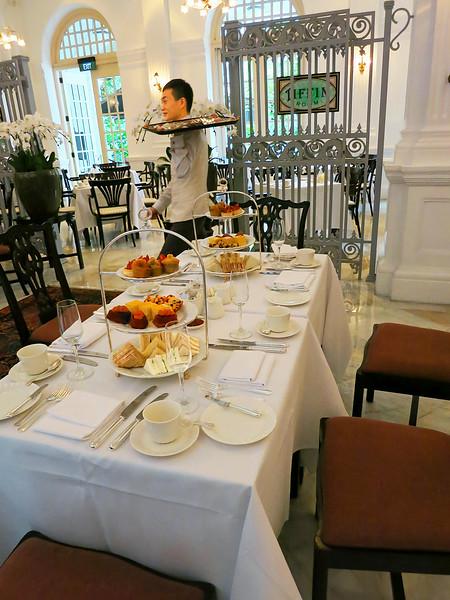 High Tea awaits, just off the lobby in the Raffles Hotel