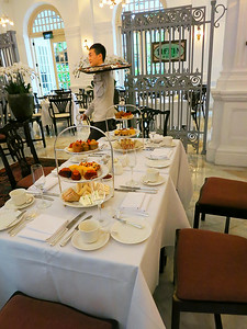 High Tea awaits, just off the lobby in the Raffles Hotel