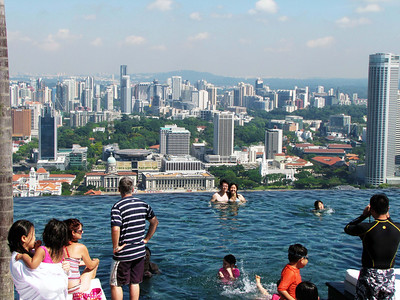 Singapore skyline from infinity pool. Raffles City at far right.