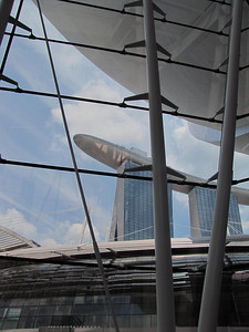 Marina Bay Sands Hotel from lobby of Art and Science Museum