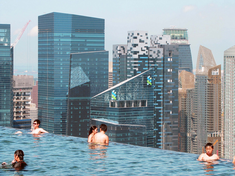 Skyline closeup from infinity pool. Google is moving to the blue/white checked building.