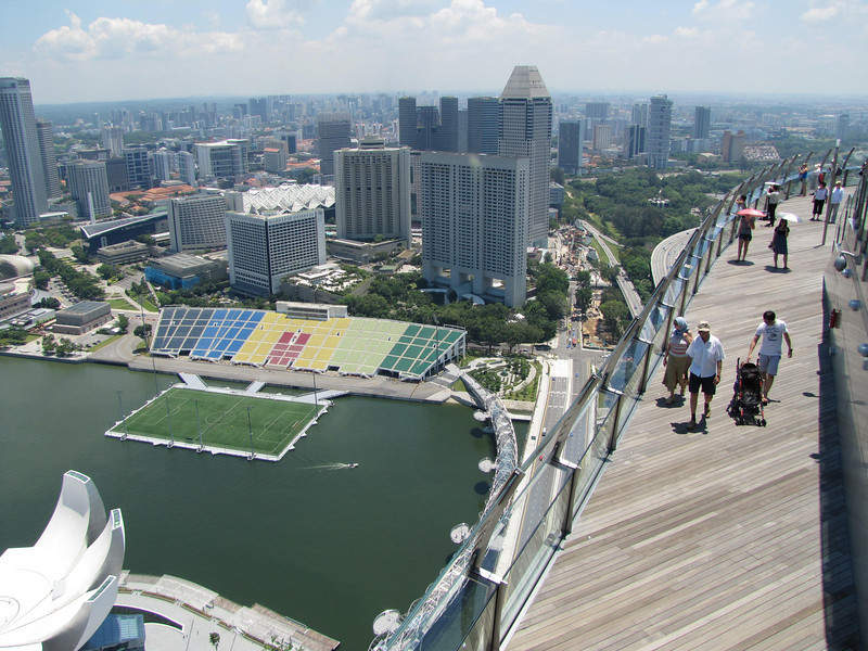 Raffles City (left) and soccer stadium from SkyPark observation deck. Art and Science Museum (lower left) is covered in separate photo galleries.