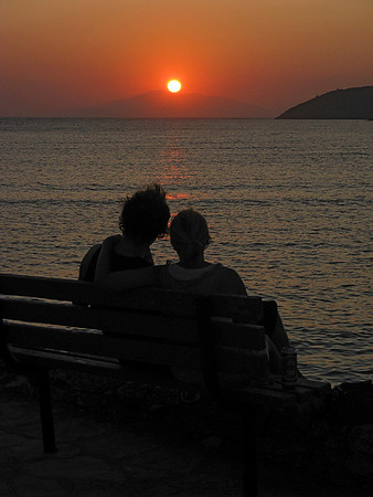 Young lovers at sunset. Amorgos.