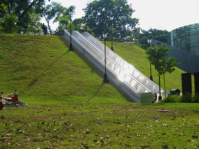 An escalator up a hill!