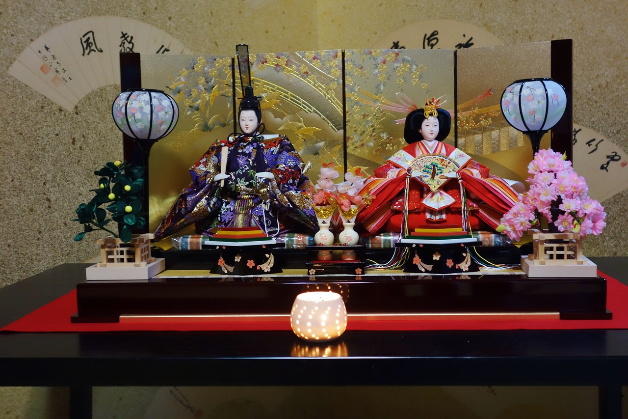 Girl's Day display of hina dolls.
