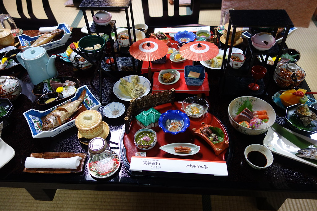 A typical ryokan dinner on our STK tour. Sensational Japanese food comes as standard!