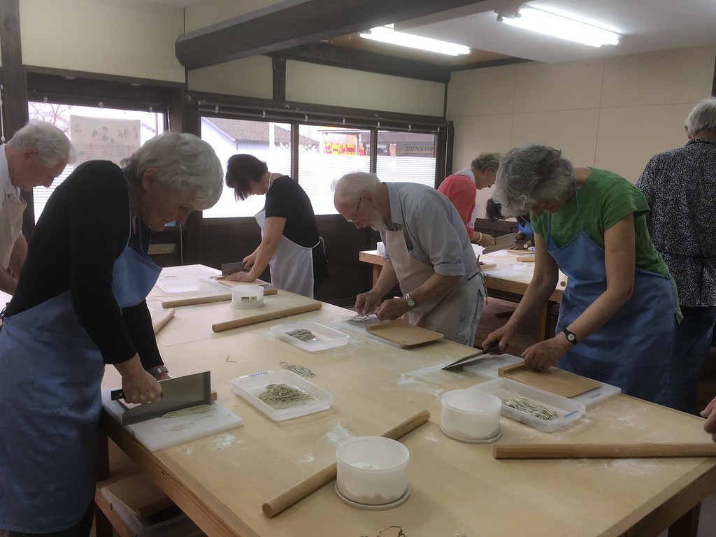 Soba noodle-making experience.