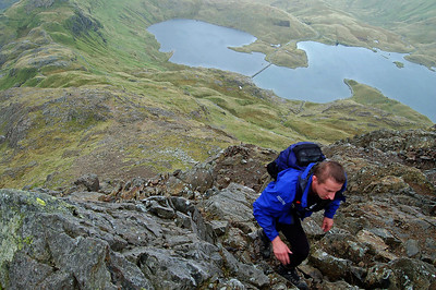 Steve climbing up to Crib Goch on the Snowdon Horseshoe