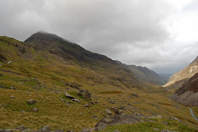 Looking down the Llanberis Pass from the start of the Pyg Track at Pen-y-Pas