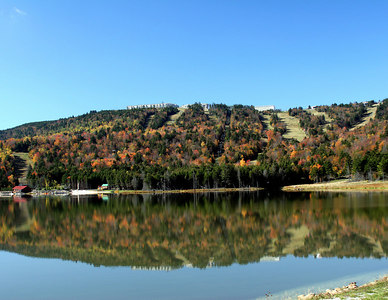 Snowshoe Mountain Resort (WV) -- Shaver's Lake and ski slopes.