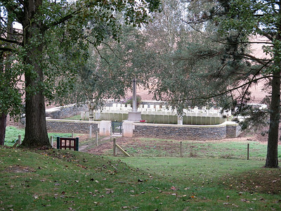 The view from inside Sheffield Memorial Park looking down on Railway Hollow Cemetery. The supply narrow gauge railway ran on the flat area in front of the cemetery.