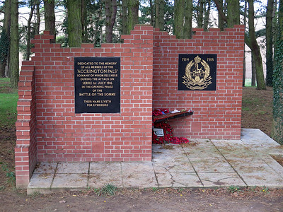 The memorial to the Accrington Pals in Sheffield Memorial Park which is constructed from Accrington bricks.
