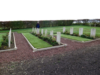 The British graves in Eclusier-Vaux Communal Cemetery. Richard Lowe's grave is in the row to the left of the picture.