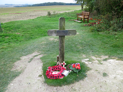 This cross at Lochnagar Crater is where the body of Pte George Nugent was found in 1998 during clearing work. His remains were transferred to Ovillers Cemetery.