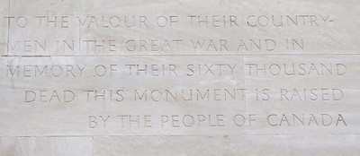 Inscription on Canadian Memorial.