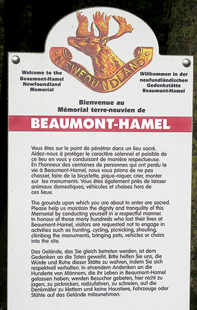 Entrance to Newfoundland Park Memorial Beamont-Hamel.