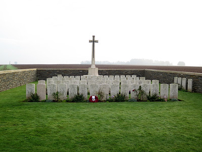 The small Serre Road Cemetery No. 3. Very close the to British front line, the German front line is over by the tree line in the distance.