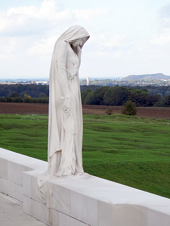 Canadian Memorial at Vimy Ridge looking out over the Douai Plain..