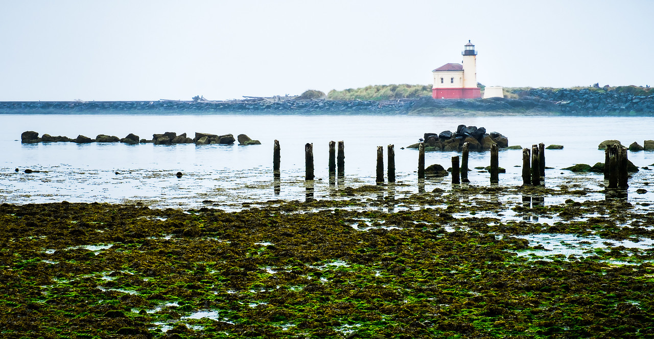 COQUILLE  LIGHTHOUSE ON A GREY, FOGGY MORNING