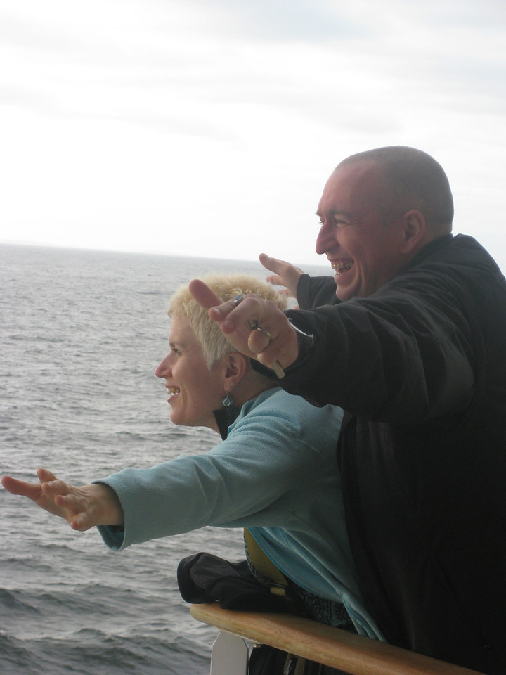 The Fritcheys doing a very nice Titanic impression.  Thankfully our captain found no large icebergs tactilely.