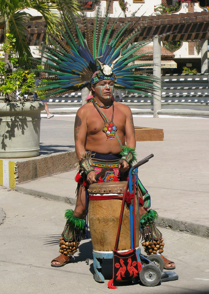 Los Indios come in a group and dance and drum in front of restaurant patrons.  Their costumes are gorgeous and the dance is quite intricate.  I hear they also do a performance at a big hotel.