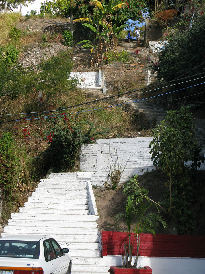 I could take these steps up to my apartment, but going up the hill is easier.