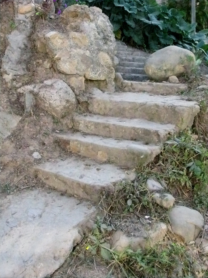 Many stone steps lead up and down the hills if you don't want to walk the longer way on the streets.  They're more rustic, but they do remind me of Pittsburgh.