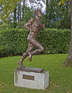 Lausanne -- Statue of runner outside entrance to Olympic Museum