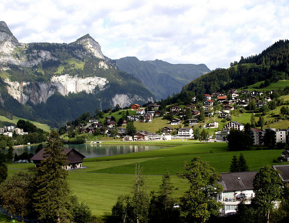 Switzerland -- view of town from the train