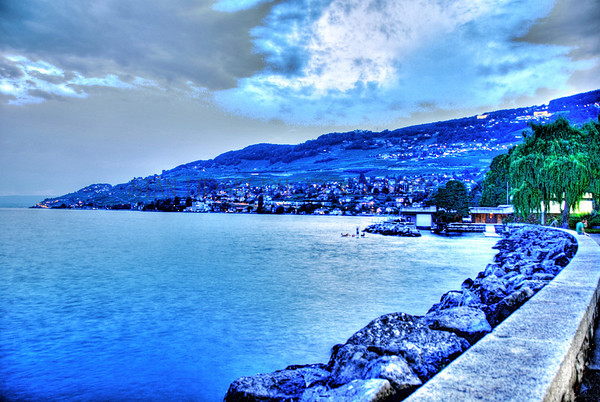 VEVEY, SWITZERLAND-AT DUSK