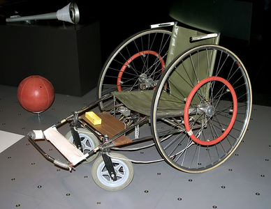 Lausanne --  basketball wheelchair used in para-olympics, in Olympic Museum