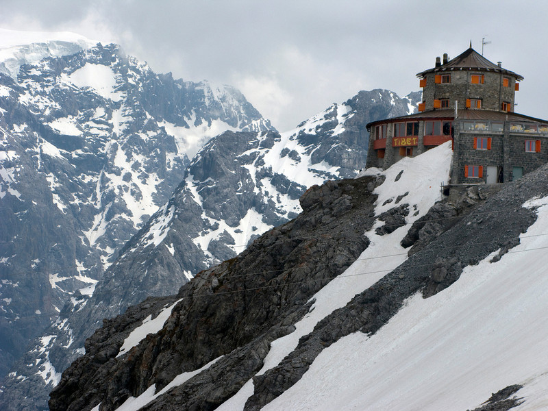 Lodge at the top of Stelvio Pass - The highest pass in Italy.