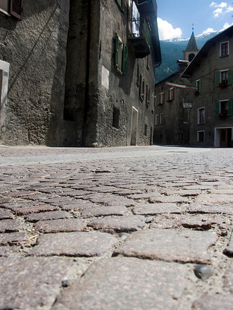 Cobble stones on the early part of the climb up Gavia Pass