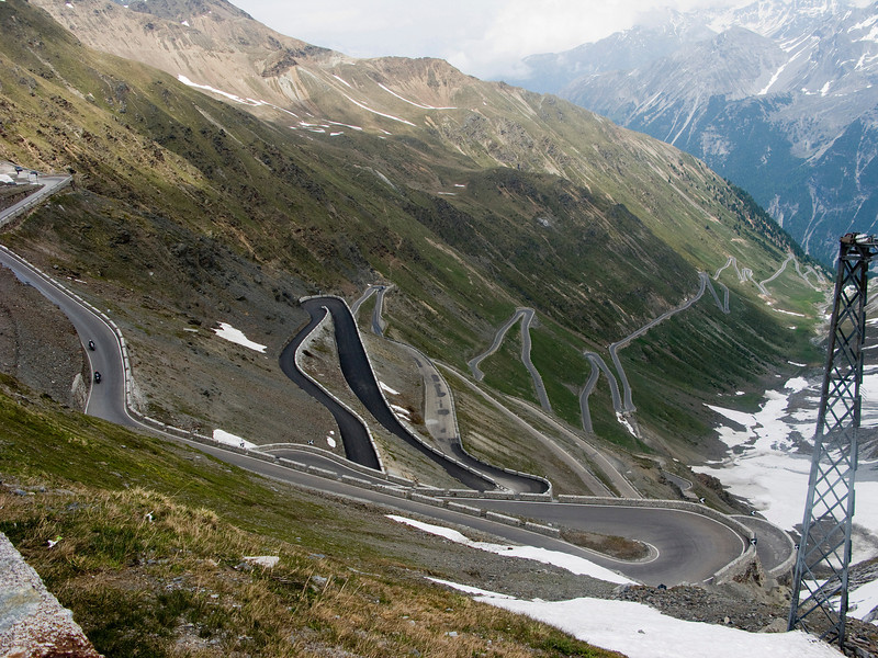 Switchbacks on the back side of Stelvio Pass.  I would ride up these two days later.
