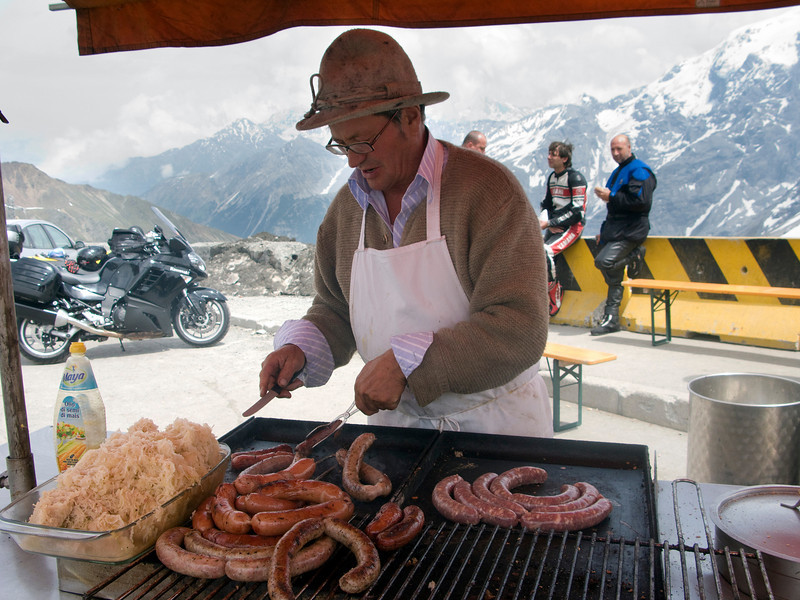 Richard'ls Wurststandl.  Not on the training table of champions, but I had a tasty bratwurst at the top of Stelvio Pass.