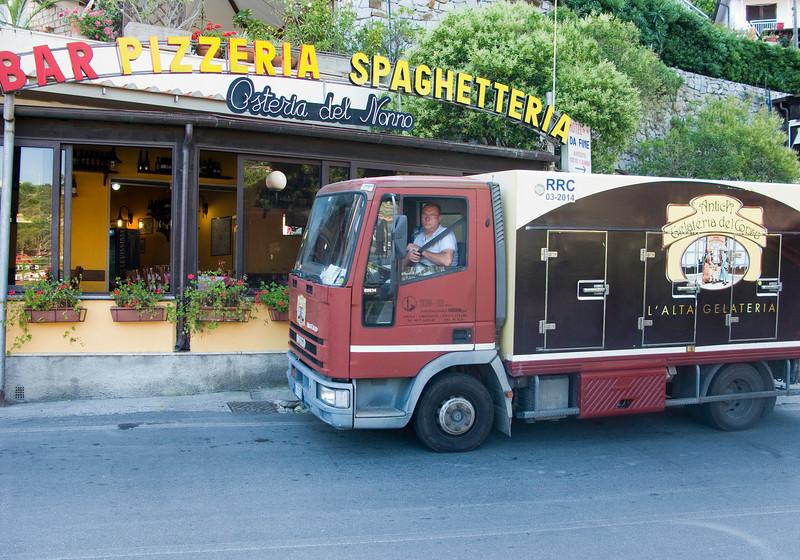 Delivering gelato to the spaghetteria