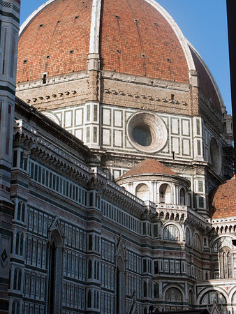 Florence Cathedral.  Contruction began in 1296, 150 years before the design to support the huge octagonal dome was created.