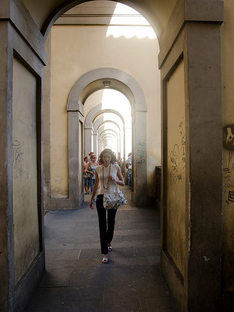 Interesting architecture on the sidewalk leading to Ponte Vecchio