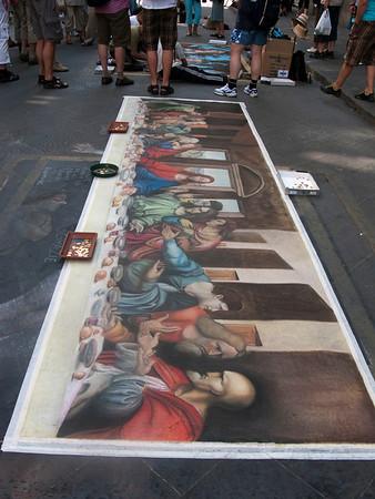 A completed sidewalk art piece