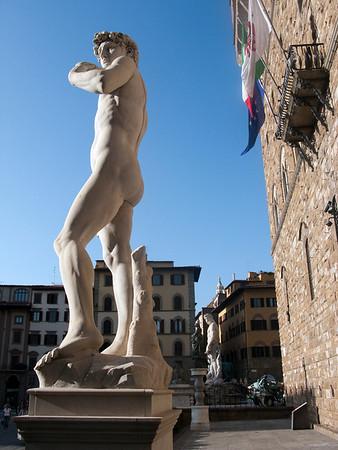 A replica of Michelangelo's David now stands in Piazza della Signoria where the original stood for over 350 years