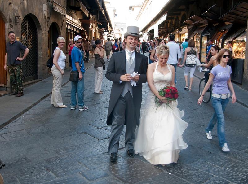 Wedding party on Ponte Vecchio