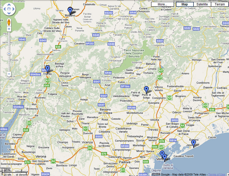 Locations of my overnight stays during the first 5 stages of the Giro