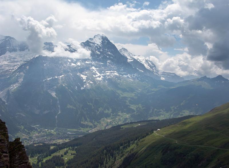 Jungfrau Region: Eiger and Monch above, Grindelwald below.